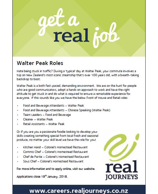 Walter Peak Roles with Real Journeys | Queenstown Trading